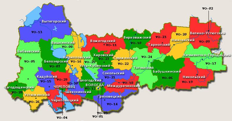 карты вологодской области
